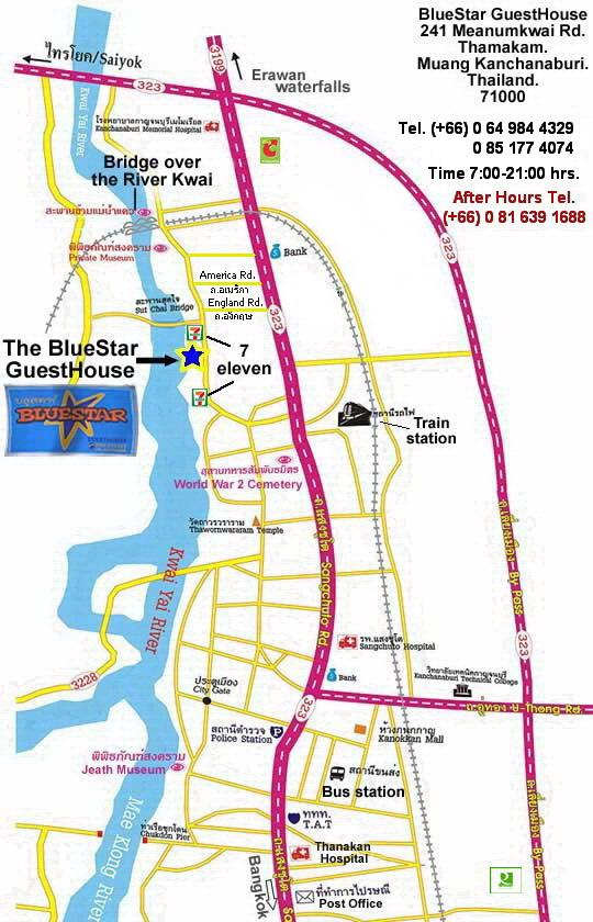 Kanchanaburi Thailand Map.Blue Star Guesthouse Kanchanaburi Thailand